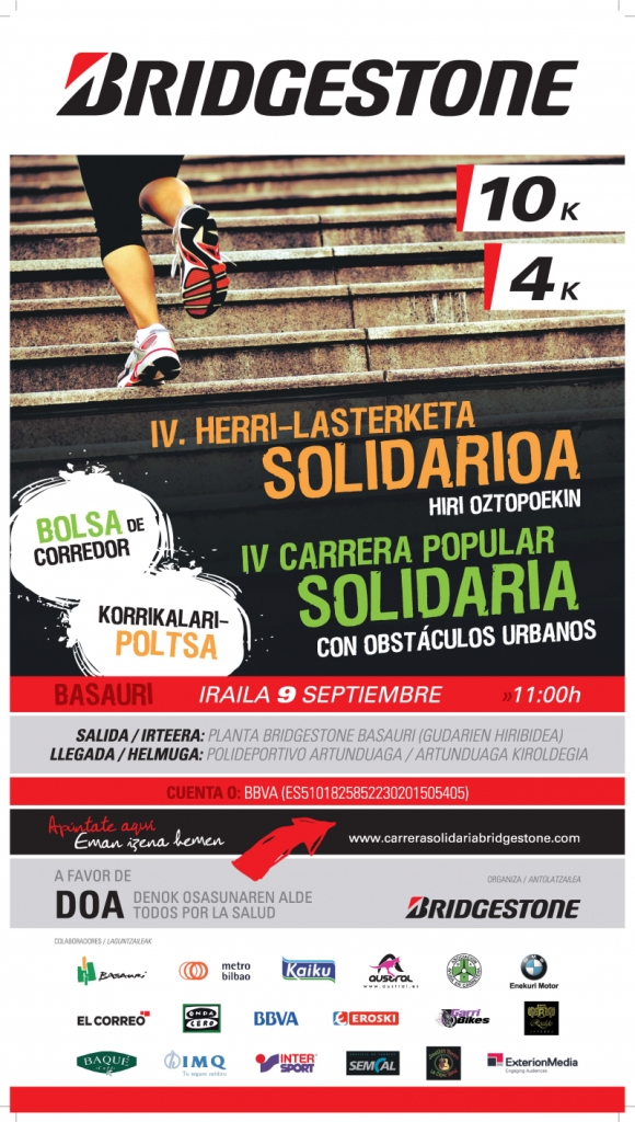 Cartel carrera solidaria Bridgstone Fb